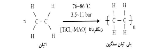 واکنش شیمیایی اتیلن به پلی اتیلن سنگین