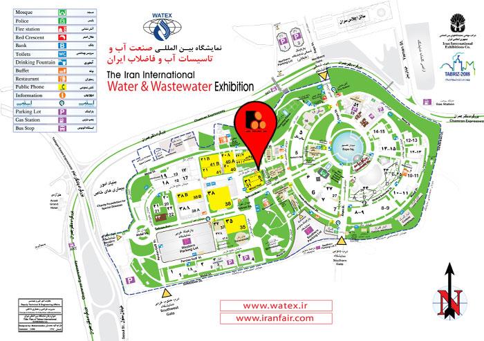 نقشه نمایشگاه آب و فاضلاب