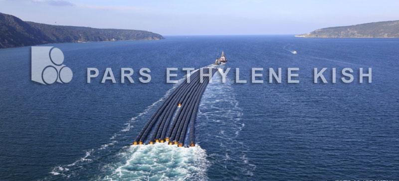 Polyethylene pipe at sea