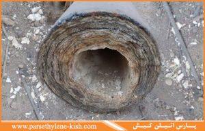 لوله بر اثر رسوب زیاد در شهر اهواز
